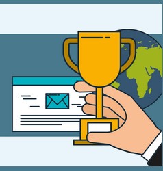 hand holding trophy email digital marketing world vector image