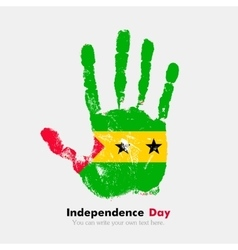 Handprint with the Flag of Sao Tome and Principe vector