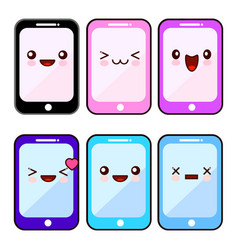 happy smartphone cartoon character kawaii set vector image