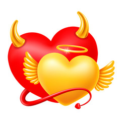 Happy valentines day with devil and angel hearts vector