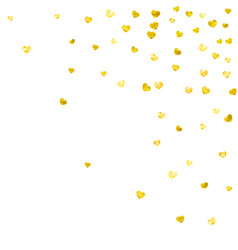 Heart frame background with gold glitter hearts vector