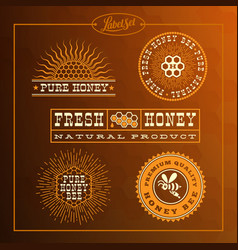honey bee label set vector image