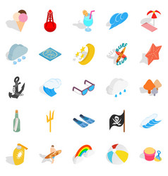 Hot weather icons set isometric style vector