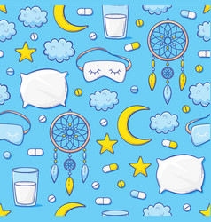 insomnia seamless pattern with pills concept vector image