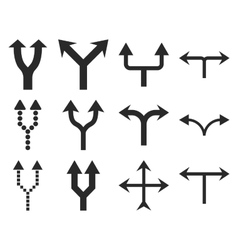 Junction Arrows Up Flat Icon Set vector