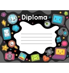 Kawaii gadgets social network diploma Doodles vector