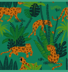 leopard in jungle seamless pattern vector image