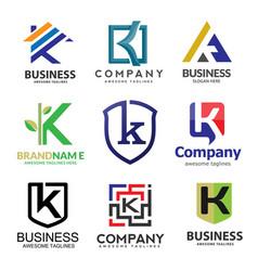 letter k logo set design vector image
