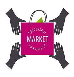 Logo shopping bag from hand to hand vector