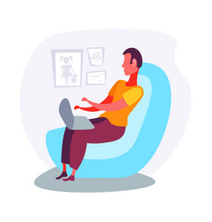 man using laptop armchair relax living room vector image