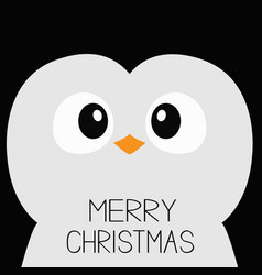 merry christmas penguin bird square head face vector image