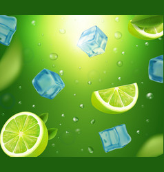 mojito with limes mint and ice cubes vector image