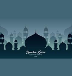 mosques silhouettes ramadan kareem background vector image