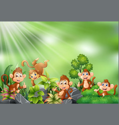 nature scene with group of monkey cartoon vector image