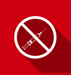 no syringe sign no vaccine icon with long shadow vector image