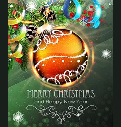 Orange christmas bauble with fir branches and vector