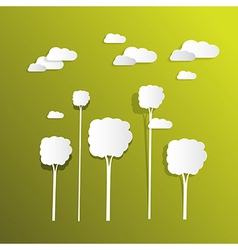 Paper Clouds and Trees on Green Background vector
