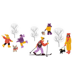 people and dogs in winter park concept vector image