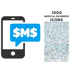 Phone SMS Icon with 1000 Medical Business Icons vector image