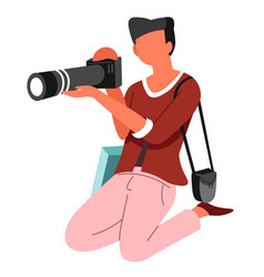 Photographer on knees photo camera and journalist vector