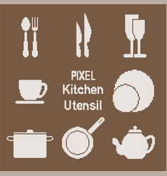 Pixel art kitchen utensil icons vector