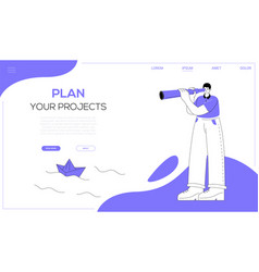 Plan your projects - flat design style web banner vector