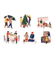 Preparing christmas family decorating eve vector