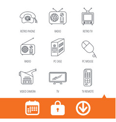 Radio tv remote and video camera icons vector