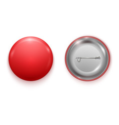 realistic blank red badge vector image