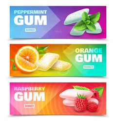 Realistic chewing gum banners vector
