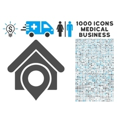 Realty location icon with 1000 medical business vector