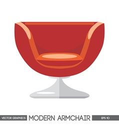 Red modern armchair over white background Digital vector image