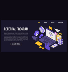 Referral program concept banner isometric style vector