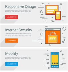 Responsive design internet security mobility line vector