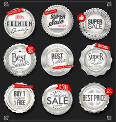 retro vintage silver badges and labels collection vector image