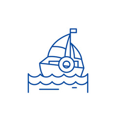 Sailing line icon concept sailing flat vector
