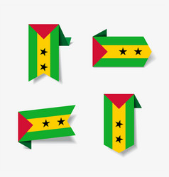 sao tome and principe flag stickers and labels vector image