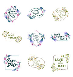 save the date wedding invitation floral elements vector image