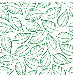 Seamless pattern leaves contours vector