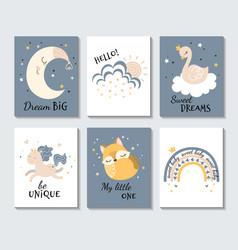 Set cute pastel inspirational cartoon posters vector