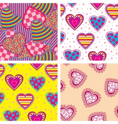 set heart pattern vector image