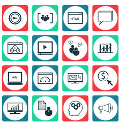 set of 16 marketing icons includes search vector image