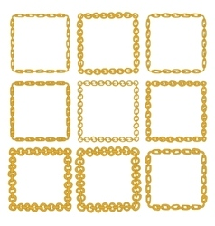 Set of 9 decorative square gold border frames vector image