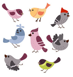 set of cute birds set of cute birds vector image