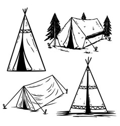 set vintage camping tents design element vector image