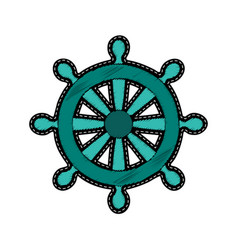ship steering wheel embroidery patch vector image