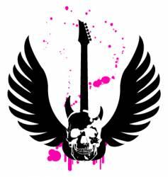 skull guitar vector image vector image