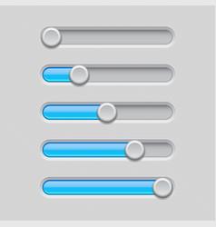 slider bars gray blue volume level console vector image