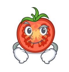 Smirking cartoon tomato slices on chopping board vector