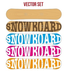 Snowboard sample flat symbols for design vector